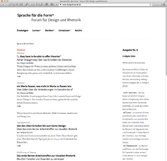 Sprache für die Form Forum für Design und Rhetorik